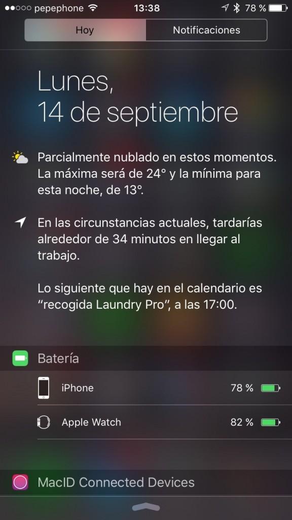 iOS 9 - Widget bateria